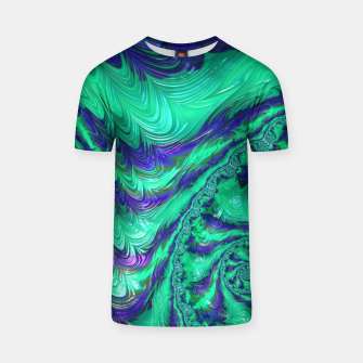 Miniaturka Blue Green Liquid Stripes Fractal T-shirt, Live Heroes