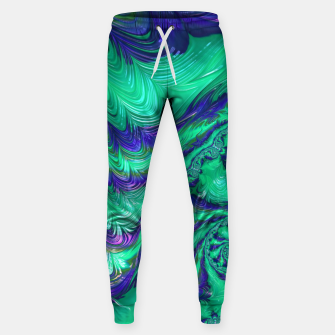 Miniaturka Blue Green Liquid Stripes Fractal Sweatpants, Live Heroes