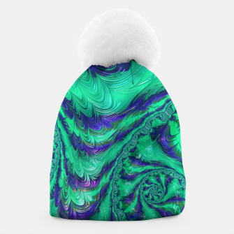 Thumbnail image of Blue Green Liquid Stripes Fractal Beanie, Live Heroes