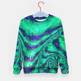 Miniaturka Blue Green Liquid Stripes Fractal Kid's sweater, Live Heroes