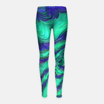 Miniaturka Blue Green Liquid Stripes Fractal Girl's leggings, Live Heroes
