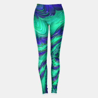 Miniaturka Blue Green Liquid Stripes Fractal Leggings, Live Heroes