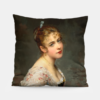 Miniaturka Contemplation by Eugene de Blaas Old Masters Classical Art Reproduction Pillow, Live Heroes