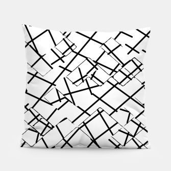 Miniaturka geometric square shape abstract background in black and white Pillow, Live Heroes