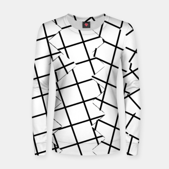 Miniaturka geometric square shape pattern abstract background in black and white Women sweater, Live Heroes