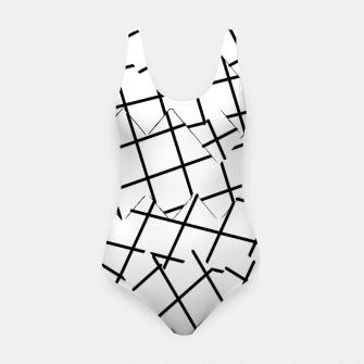 Miniaturka geometric square shape pattern abstract background in black and white Swimsuit, Live Heroes