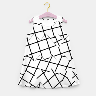 Miniaturka geometric square shape pattern abstract background in black and white Girl's summer dress, Live Heroes