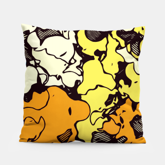 Thumbnail image of psychedelic graffiti painting abstract in orange yellow and blue Pillow, Live Heroes
