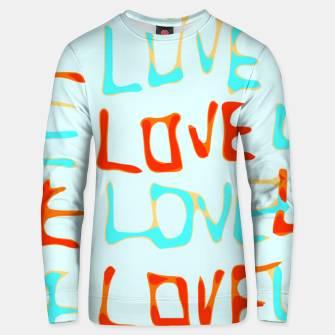 Miniature de image de LOVE alphabet handwriting drawing in red and blue Unisex sweater, Live Heroes
