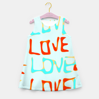 Miniaturka LOVE alphabet handwriting drawing in red and blue Girl's summer dress, Live Heroes