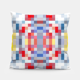 Thumbnail image of geometric square pattern pixel abstract in blue red yellow Pillow, Live Heroes