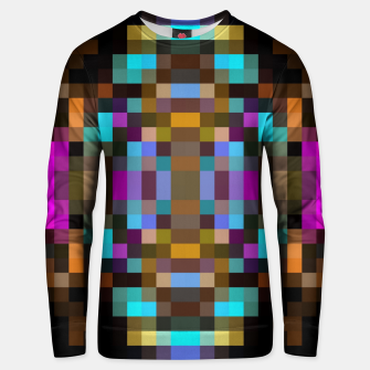 Miniatur geometric square pixel abstract in blue orange pink with black background Unisex sweater, Live Heroes