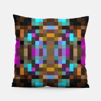 Thumbnail image of geometric square pixel abstract in blue orange pink with black background Pillow, Live Heroes