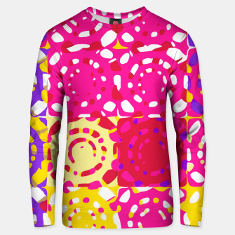 Miniatur graffiti circle pattern abstract in pink yellow and purple Unisex sweater, Live Heroes