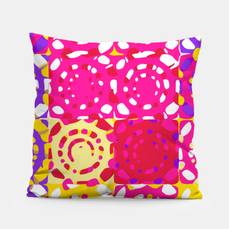 Thumbnail image of graffiti circle pattern abstract in pink yellow and purple Pillow, Live Heroes