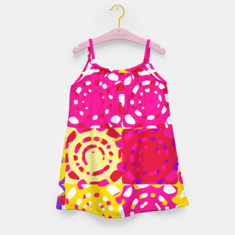 Miniatur graffiti circle pattern abstract in pink yellow and purple Girl's dress, Live Heroes