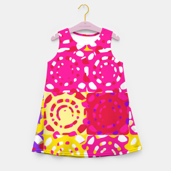 Miniatur graffiti circle pattern abstract in pink yellow and purple Girl's summer dress, Live Heroes
