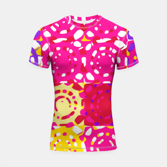 Miniatur graffiti circle pattern abstract in pink yellow and purple Shortsleeve rashguard, Live Heroes