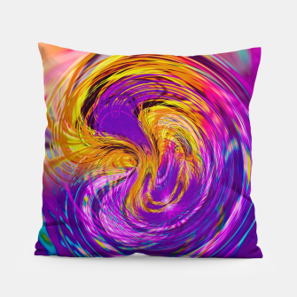 Miniatur psychedelic graffiti abstract pattern in purple pink brown blue Pillow, Live Heroes