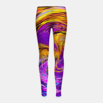 Miniatur psychedelic graffiti abstract pattern in purple pink brown blue Girl's leggings, Live Heroes