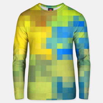 Miniatur pixel geometric square pattern abstract in yellow blue brown green Unisex sweater, Live Heroes