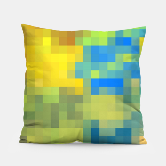 Thumbnail image of pixel geometric square pattern abstract in yellow blue brown green Pillow, Live Heroes
