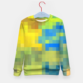 Thumbnail image of pixel geometric square pattern abstract in yellow blue brown green Kid's sweater, Live Heroes