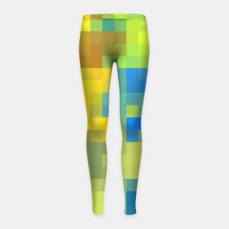 Thumbnail image of pixel geometric square pattern abstract in yellow blue brown green Girl's leggings, Live Heroes