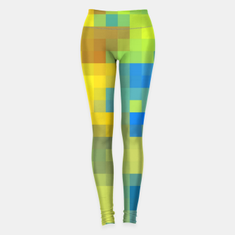 Thumbnail image of pixel geometric square pattern abstract in yellow blue brown green Leggings, Live Heroes