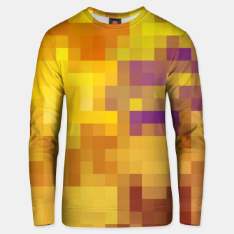 Miniatur pixel geometric square pattern abstract in yellow brown purple Unisex sweater, Live Heroes