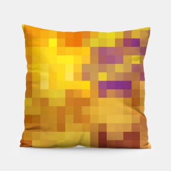 Thumbnail image of pixel geometric square pattern abstract in yellow brown purple Pillow, Live Heroes