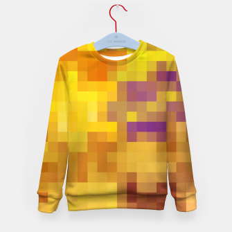 Thumbnail image of pixel geometric square pattern abstract in yellow brown purple Kid's sweater, Live Heroes