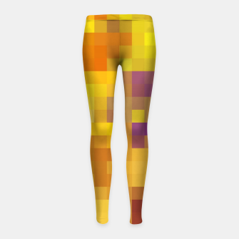 Thumbnail image of pixel geometric square pattern abstract in yellow brown purple Girl's leggings, Live Heroes