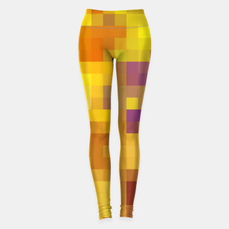 Thumbnail image of pixel geometric square pattern abstract in yellow brown purple Leggings, Live Heroes