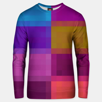 Miniatur pixel geometric square pattern abstract in purple pink blue brown Unisex sweater, Live Heroes