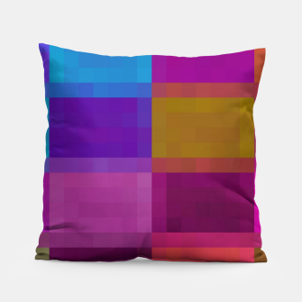 Thumbnail image of pixel geometric square pattern abstract in purple pink blue brown Pillow, Live Heroes