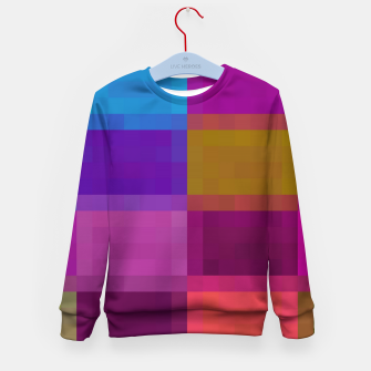 Thumbnail image of pixel geometric square pattern abstract in purple pink blue brown Kid's sweater, Live Heroes