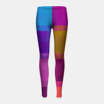 Thumbnail image of pixel geometric square pattern abstract in purple pink blue brown Girl's leggings, Live Heroes