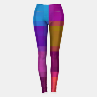 Thumbnail image of pixel geometric square pattern abstract in purple pink blue brown Leggings, Live Heroes