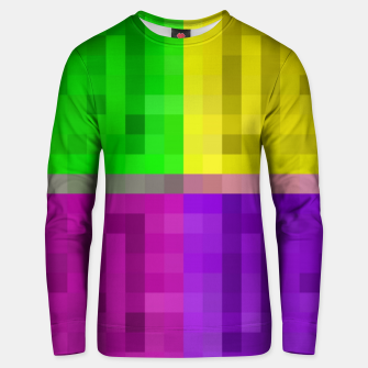 Miniatur pixel geometric square pattern abstract in green pink purple yellow Unisex sweater, Live Heroes