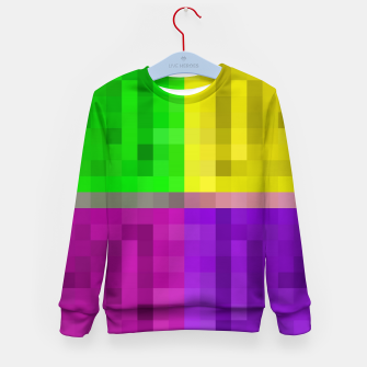 Thumbnail image of pixel geometric square pattern abstract in green pink purple yellow Kid's sweater, Live Heroes