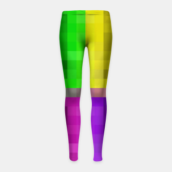 Thumbnail image of pixel geometric square pattern abstract in green pink purple yellow Girl's leggings, Live Heroes