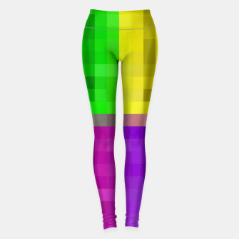 Miniatur pixel geometric square pattern abstract in green pink purple yellow Leggings, Live Heroes