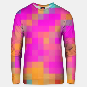 Miniatur pixel geometric square pattern abstract in pink orange blue red Unisex sweater, Live Heroes