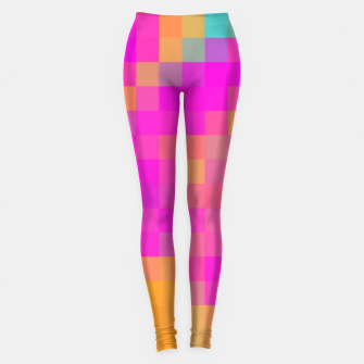 Thumbnail image of pixel geometric square pattern abstract in pink orange blue red Leggings, Live Heroes