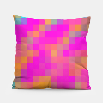 Thumbnail image of pixel geometric square pattern abstract in pink orange blue red Pillow, Live Heroes