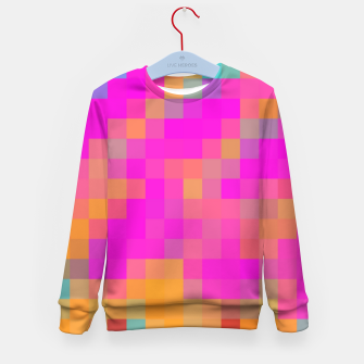 Thumbnail image of pixel geometric square pattern abstract in pink orange blue red Kid's sweater, Live Heroes