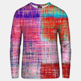 Miniatur square plaid pattern texture abstract in red blue pink purple Unisex sweater, Live Heroes