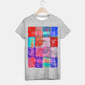 Miniatur square plaid pattern texture abstract in red blue pink purple T-shirt regular, Live Heroes