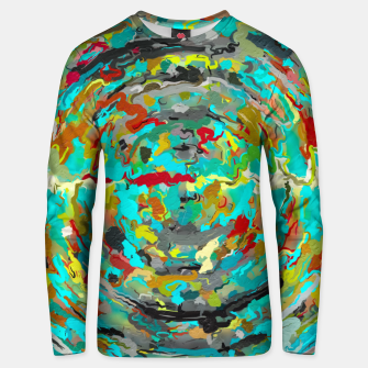 Miniatur psychedelic circle pattern painting abstract background in green blue yellow brown Unisex sweater, Live Heroes